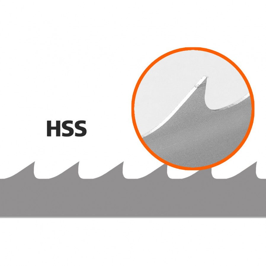 5 Bandsaw Blades (HSS/Bimetal) for Logosol B751, L: 3843 mm, W: 34 mm